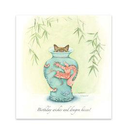 Wishingwell Wenskaart 'Birthday wishes and dragon kisses' kat in vaas