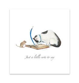 Wishingwell Wenskaart 'Just a little note to say' kat en muis