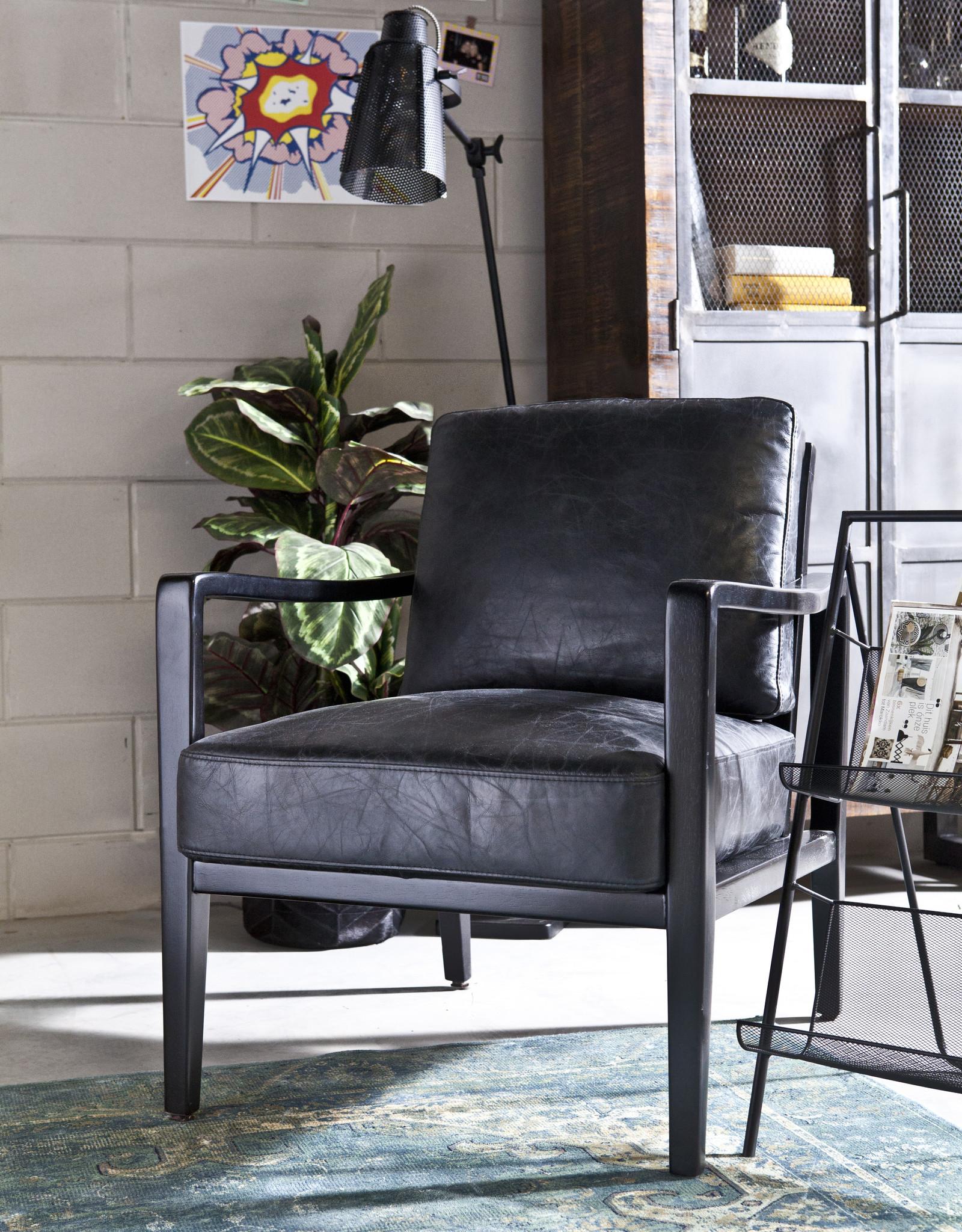 Fauteuil Vintage Leer - zwart