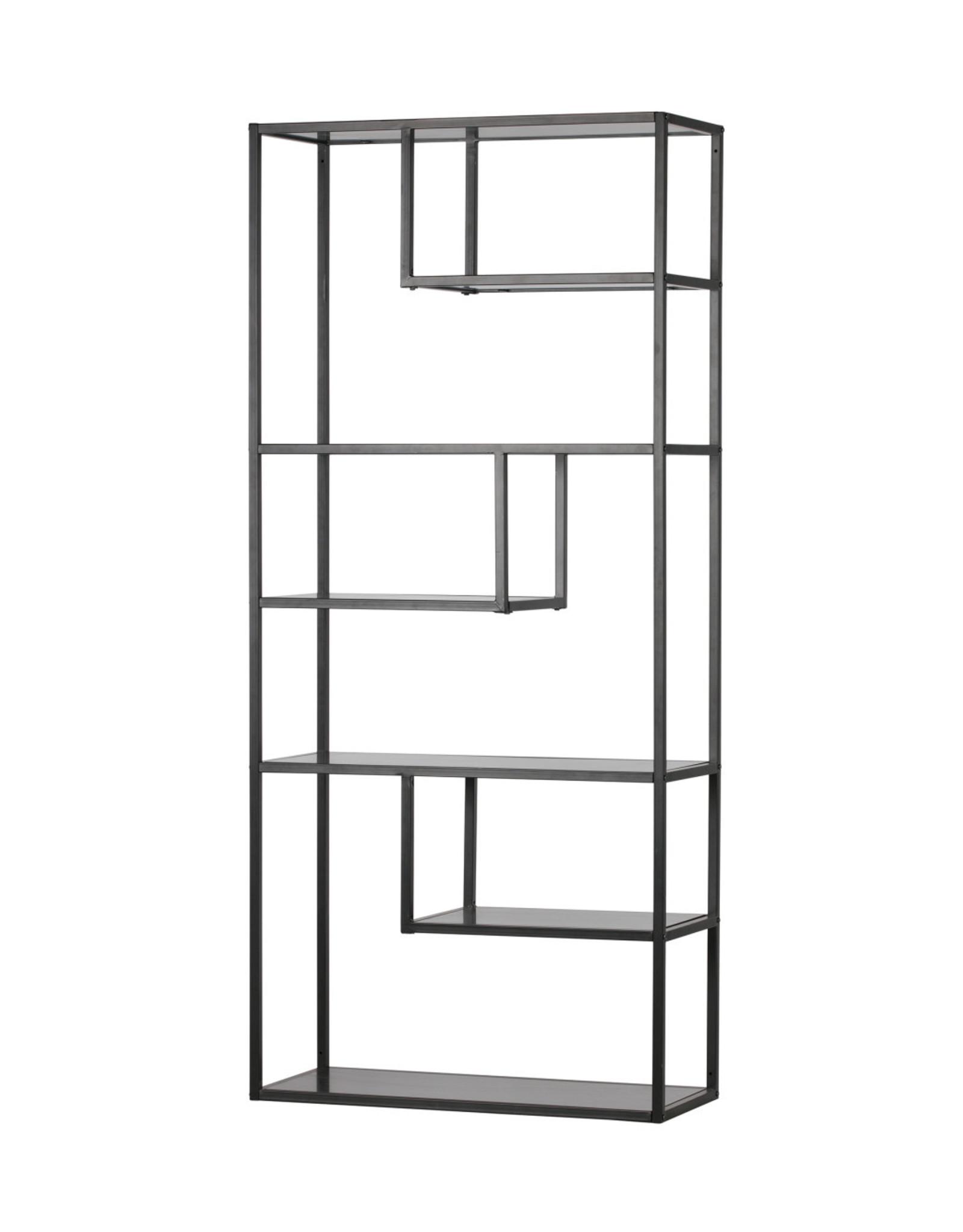 Wandkast/Boekenrek B85 cm- zwart metaal