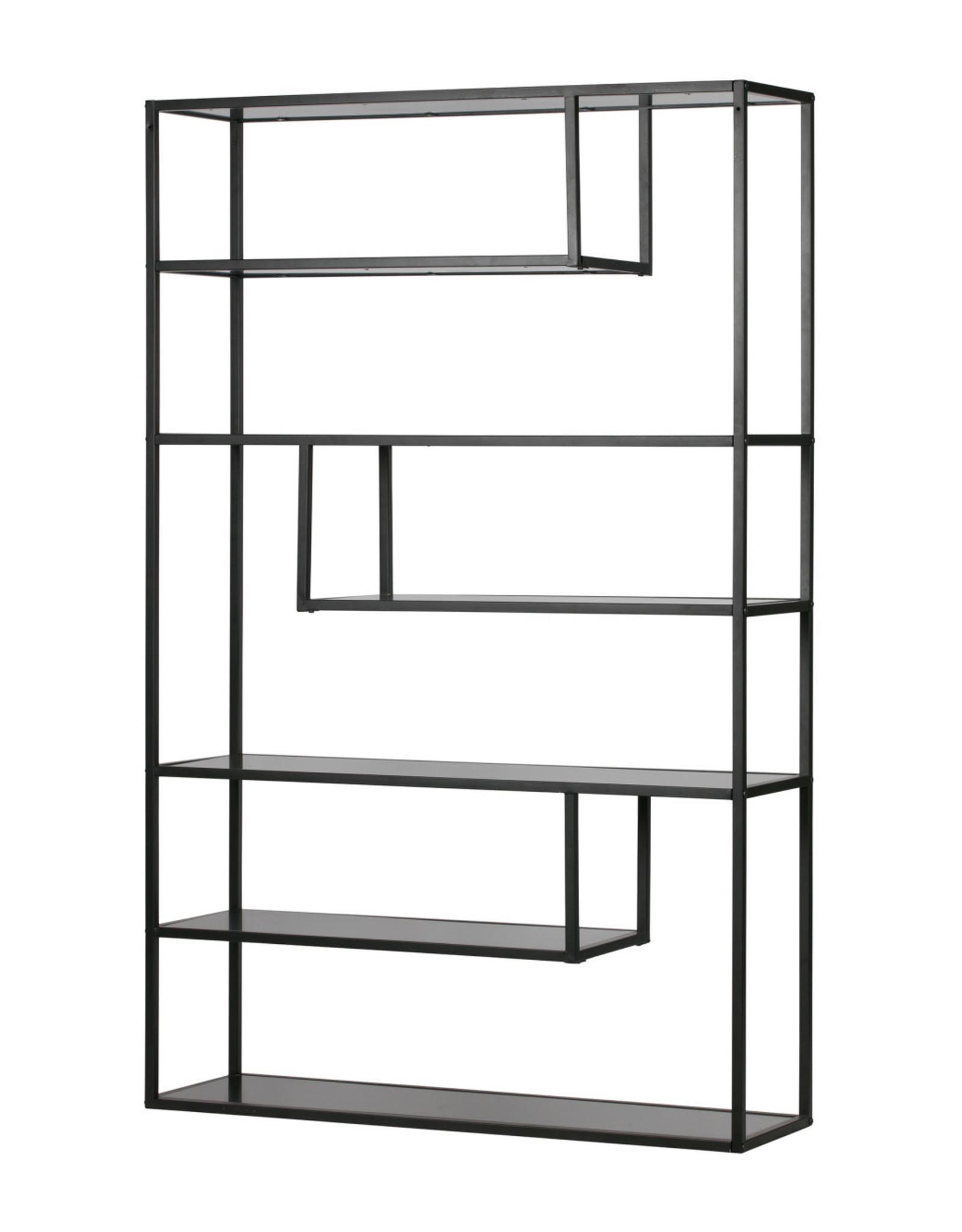 Wandkast/Boekenrek B120 cm- zwart metaal
