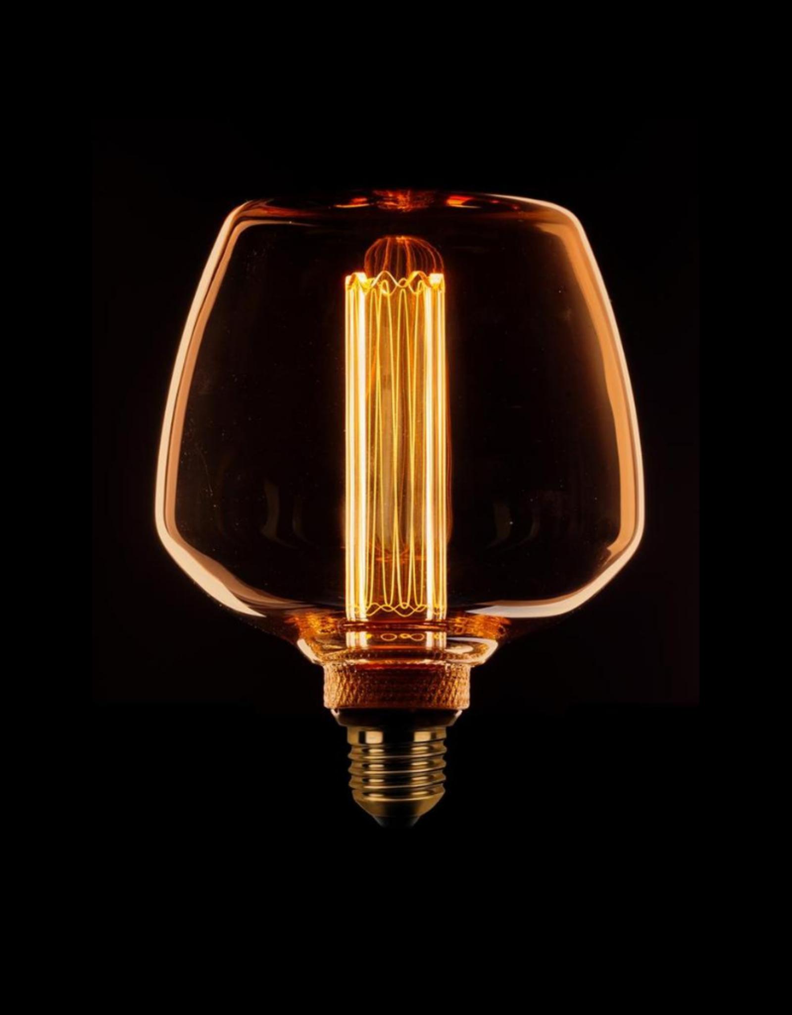 LED Lamp Trapezium Kooldraad - 3 stappen dimbaar - Amber/Goud E27