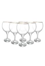 Set van 6 Cocktailglazen met goud randje