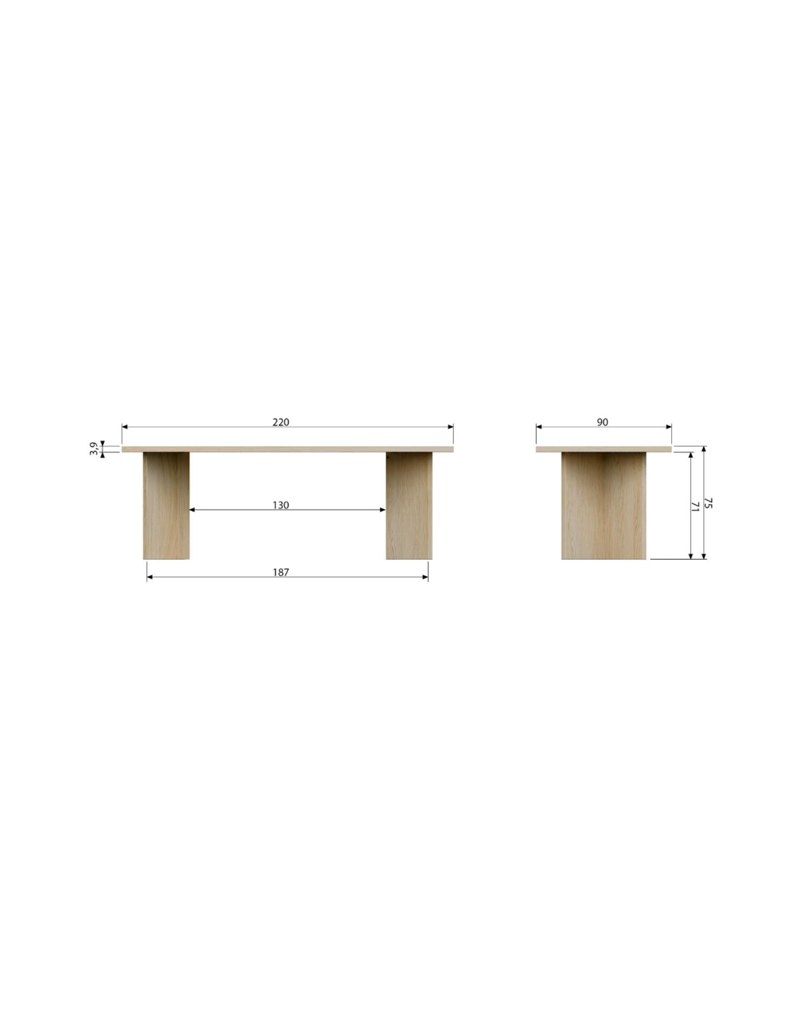 vtwonen Eettafel Angle L220 cm - eikenhout fineer
