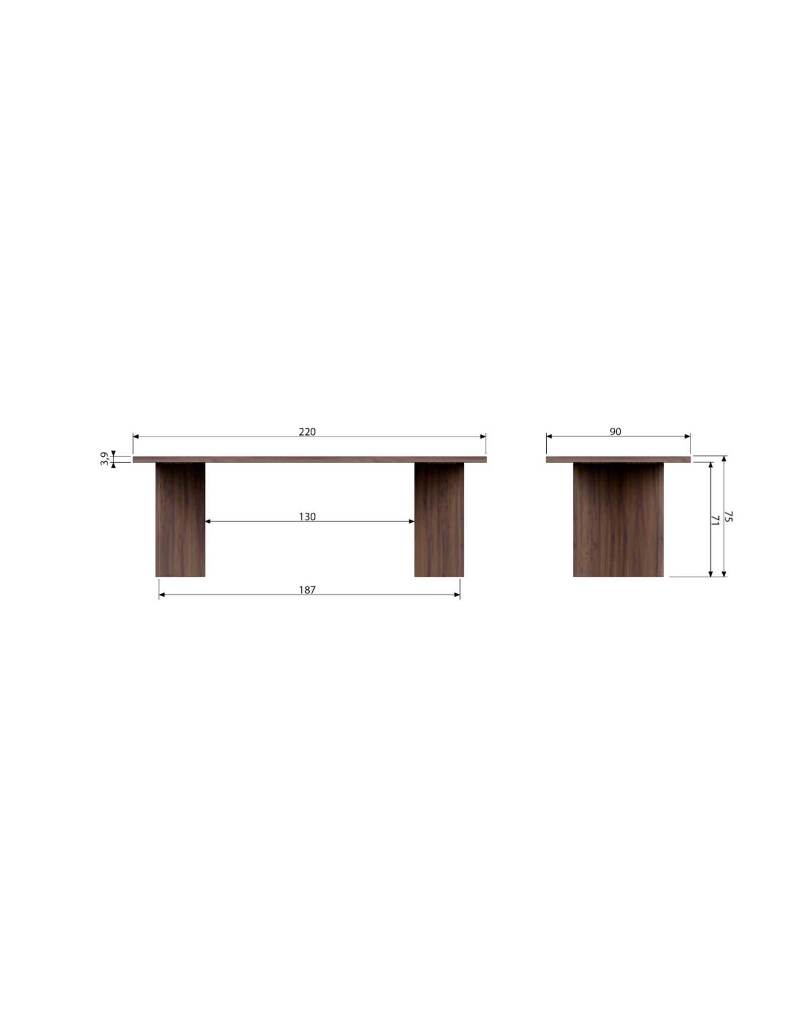 Eettafel Angle L220 cm - Notenhout fineer