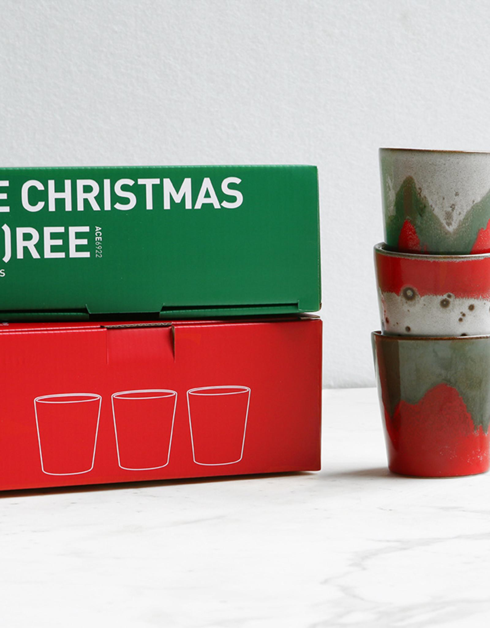 HK Living Set van 3 70s bekers - The Christmas Tree