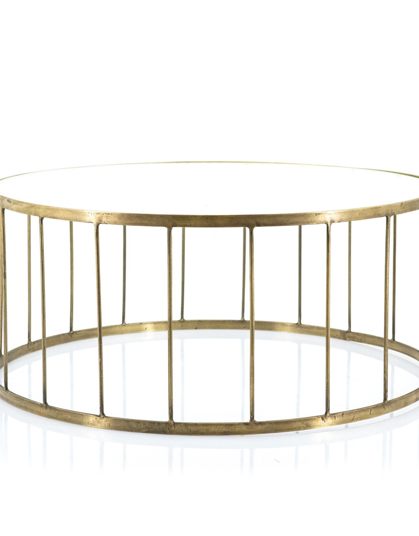 Salontafel Ø 80 cm - gold rib glas