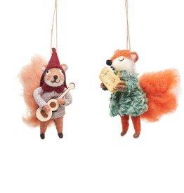 Kersthanger Vilt set v 2 - Carolling Fox & Squirrel