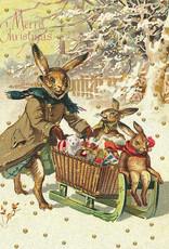 Madame Treacle Kaart met glitter 'Hare family sleigh'