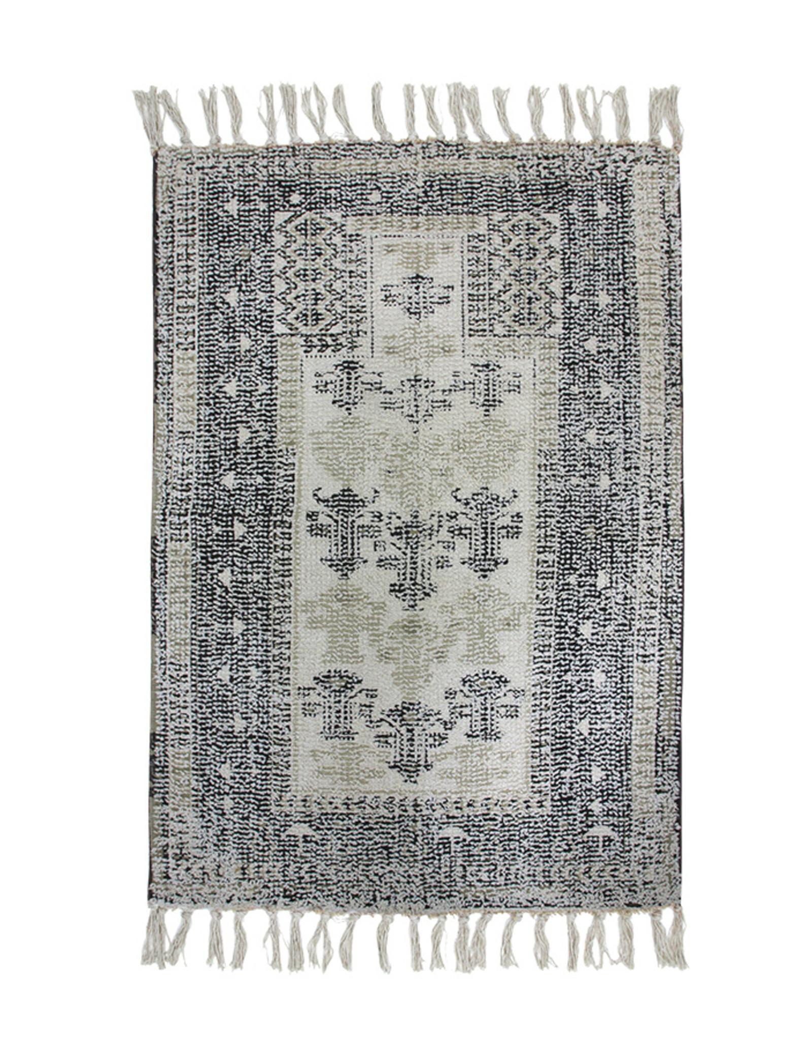 HK Living Badmat 60 x 90 cm zwart/wit getuft met antislip