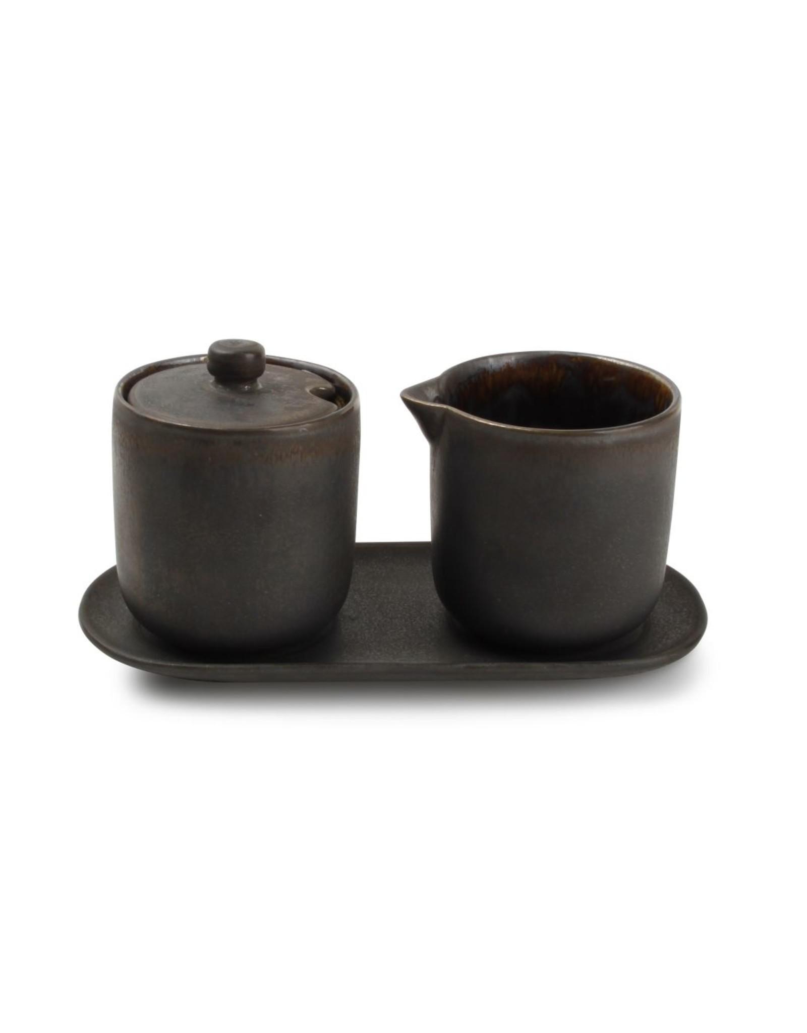 Set van melkkan + suikerpot + schaaltje Rustic