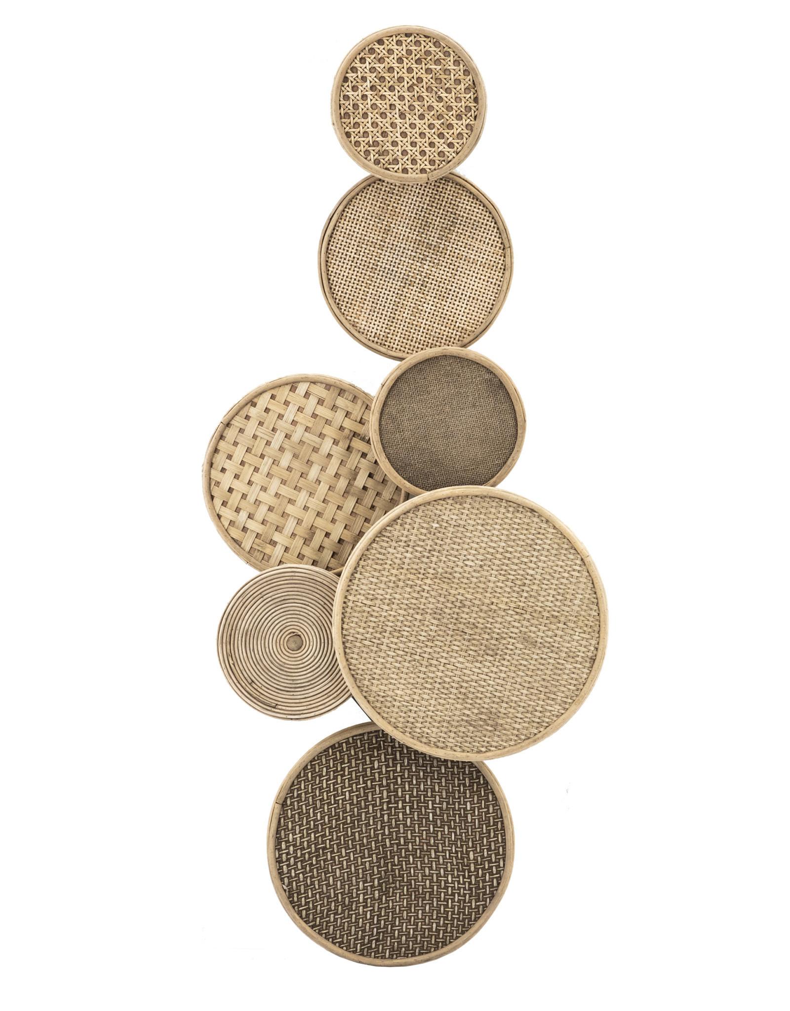 Wanddeco bamboo/webbing circles