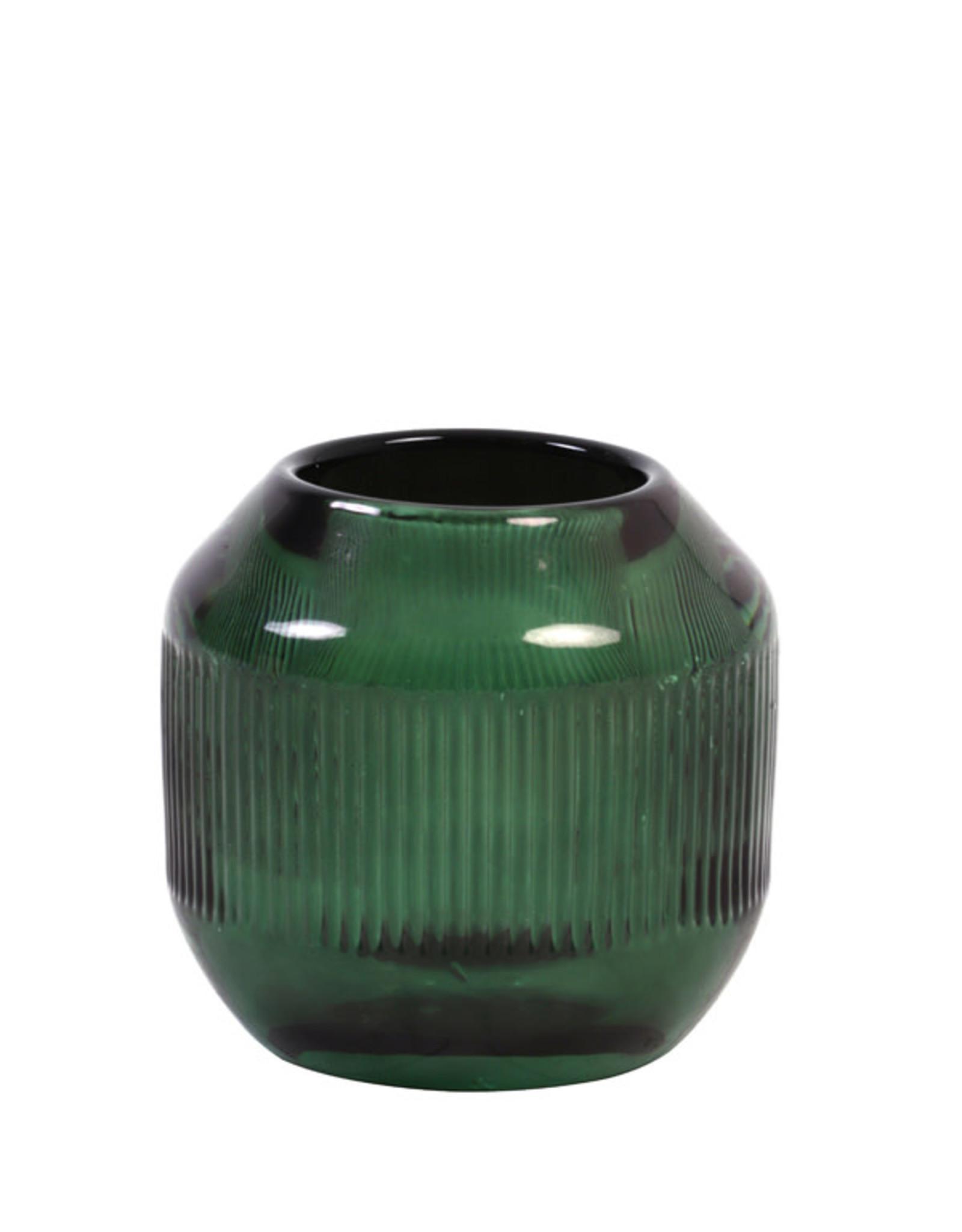 Theelichthouder Glass Lines - forest green