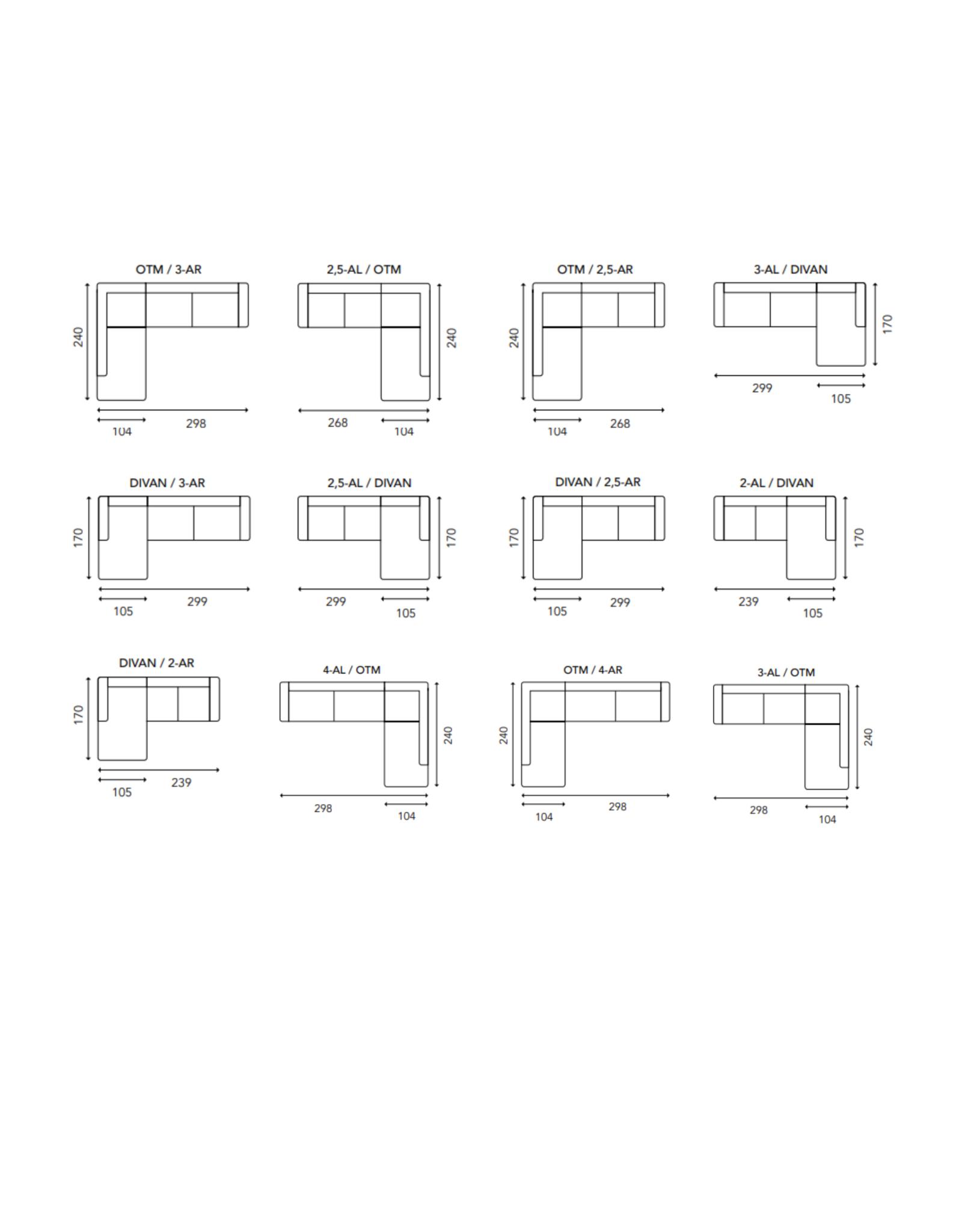 U&S sofa collection Zetel met chaise longue 269 cm Coco - stof Feel Me