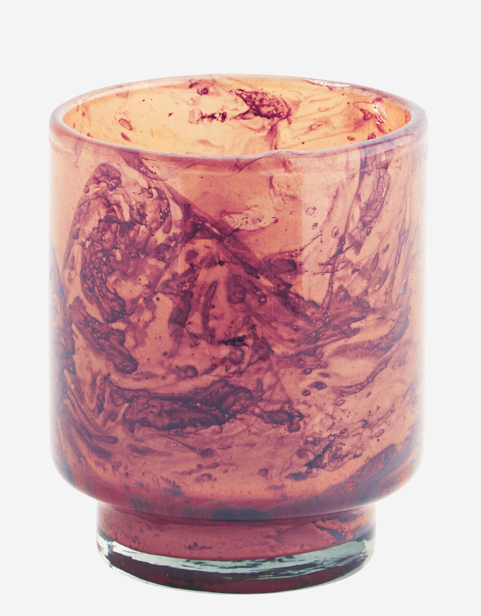 Madam Stoltz Theelichthouder Glas - oranje/paars