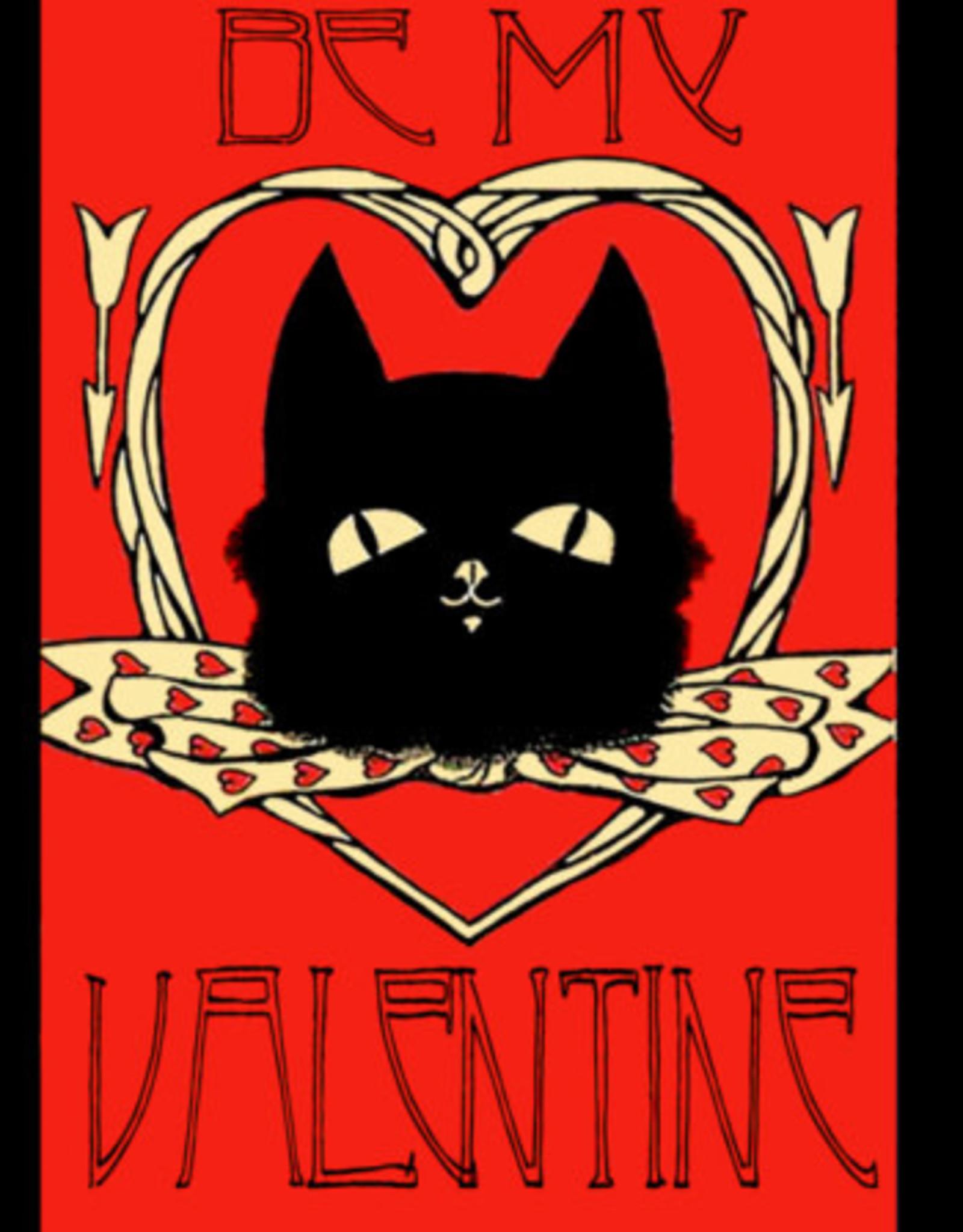 Madame Treacle Kaart groot 'Black cat and hearts'