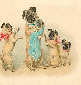 Madame Treacle Kaart vintage petite 'The pug family'