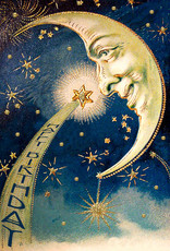 Madame Treacle Kaart groot glitter 'The moon & the star'