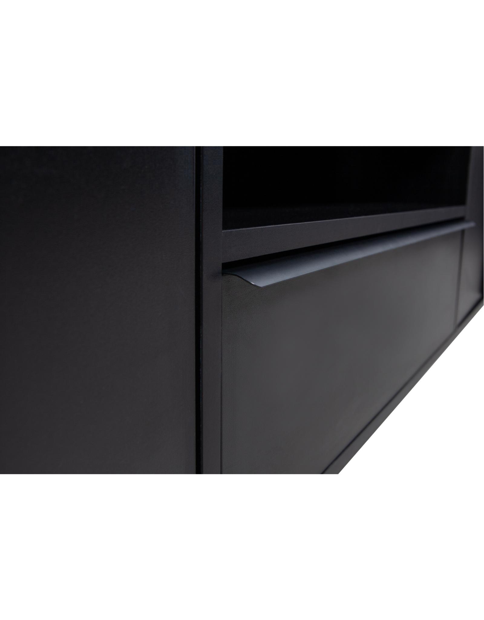 TV Wandkast - zwart metaal & MDF