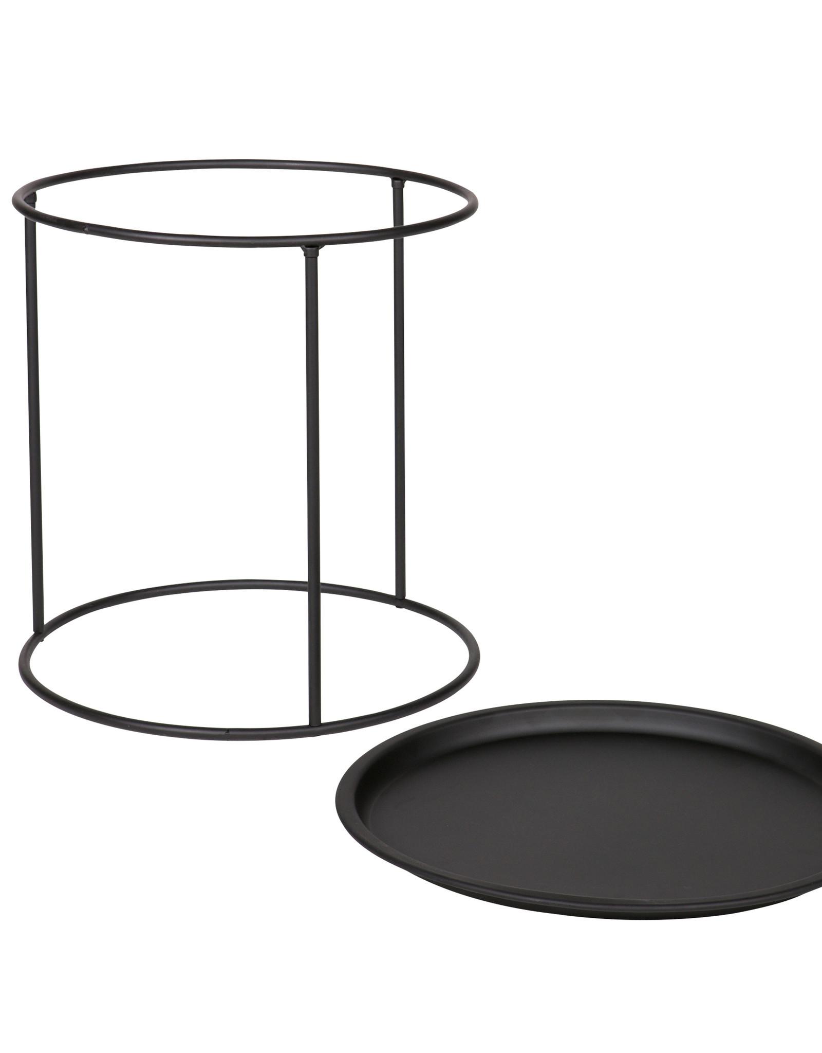 Bijzettafel met afneembaar dienblad Ø40 cm - zwart metaal