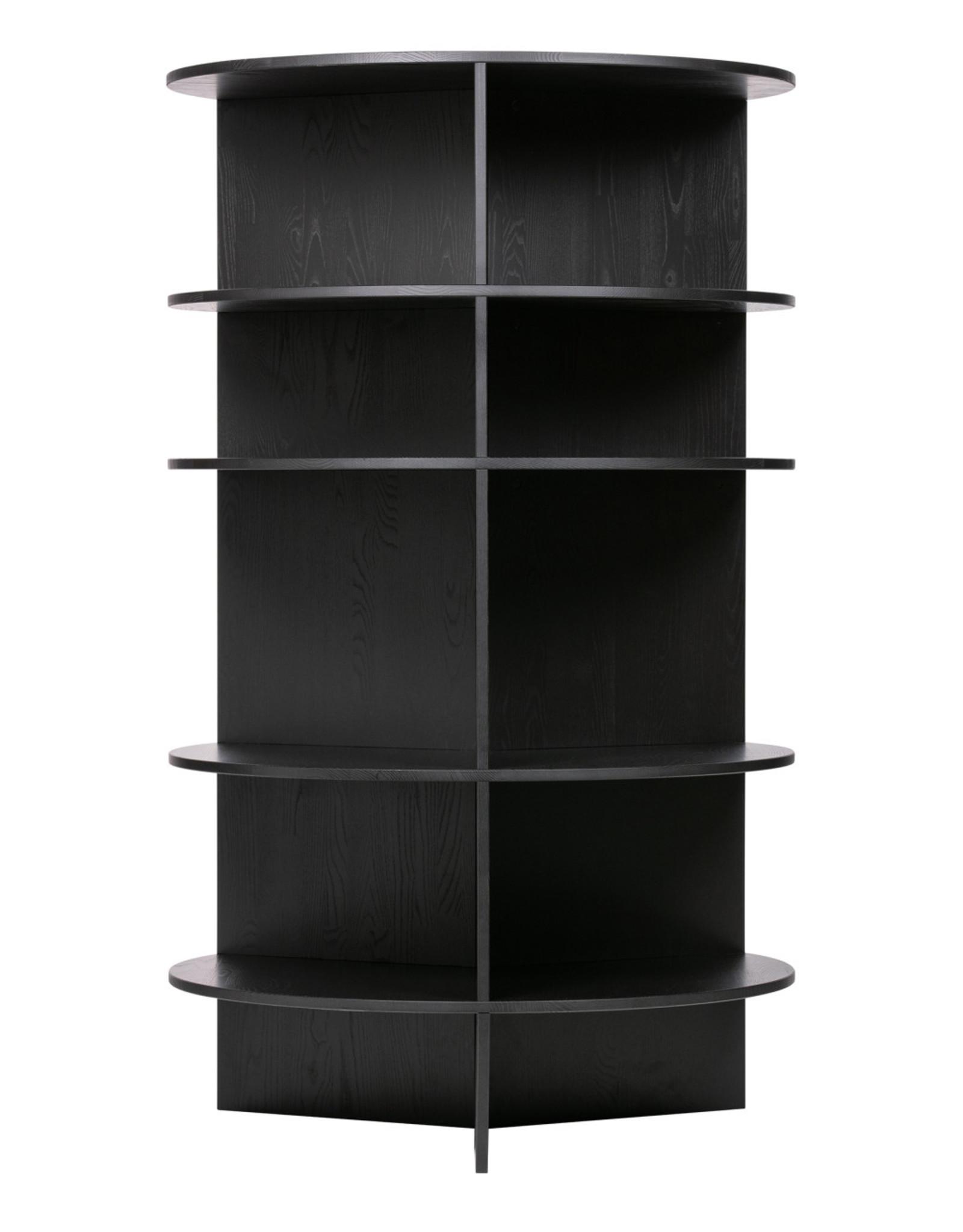 Ronde kast 'The Tower' - zwart grenenhout