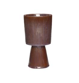 Hübsch Bloempot op voet - Purple/Brown ø12 x H23 cm