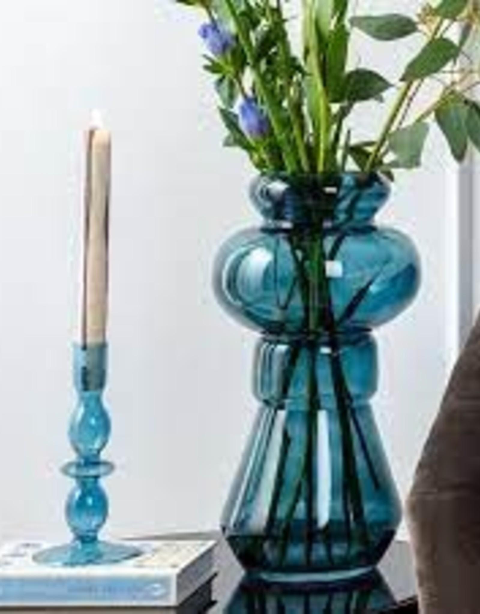 Kandelaar Glass Art Bubbles M - blue