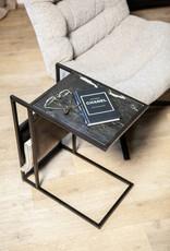 Sofa bijzettafel met magazinehouder - zwart marmer