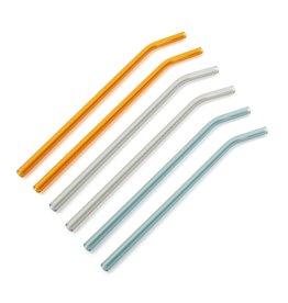 Set van 6 glazen rietjes - oranje/grijs/groen