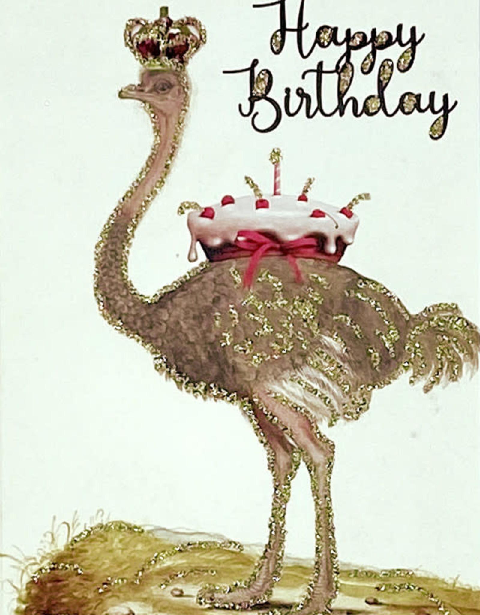 "vanilla fly Kaart ""Happy Birthday Struisvogel"" (incl. envelop)"