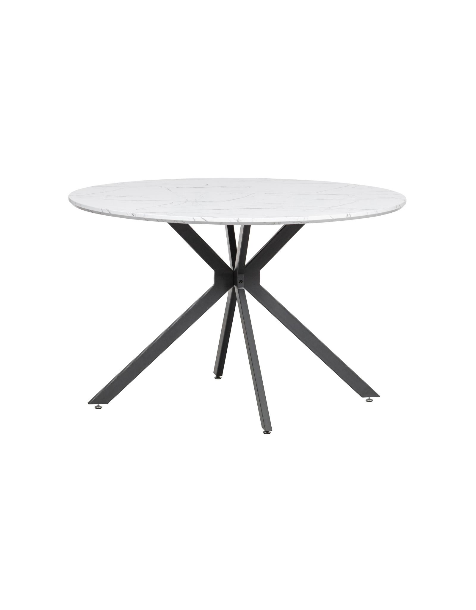 Eettafel Ø120 cm Marmerlook wit
