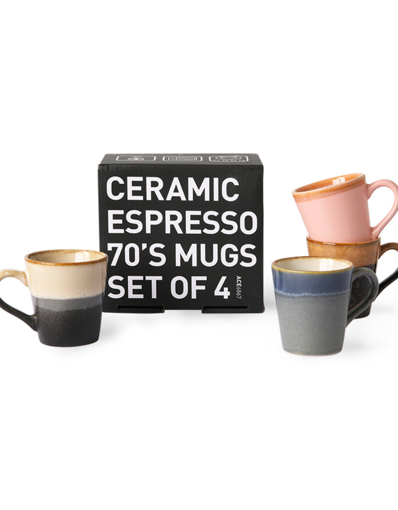 HK Living Set van 4 Espresso mugs 70s