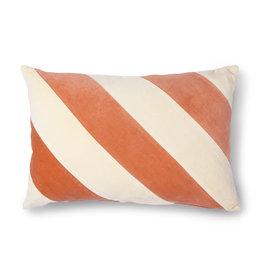 HK Living Kussen Striped velvet peach/cream