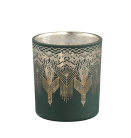 Theelichthouder Boho Green Gold glas S