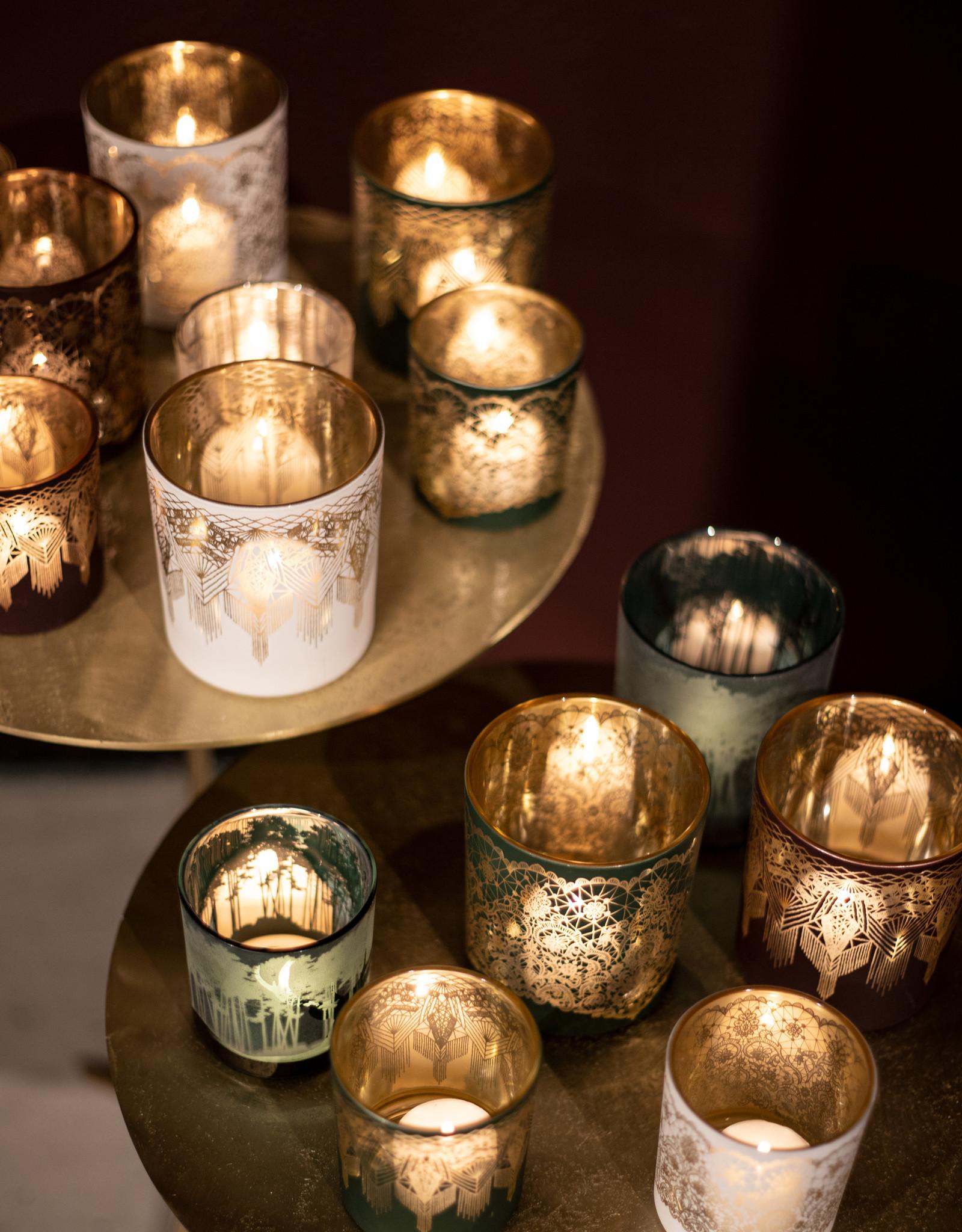Theelichthouder Arabic Red Gold glas L