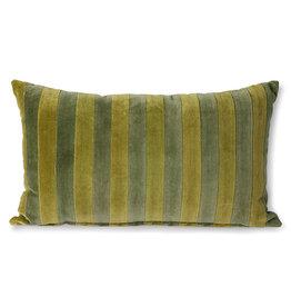 HK Living Kussen Striped Velvet green/camo 30 x 50 cm