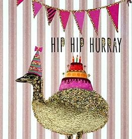 vanilla fly Kaart 'Hip Hip Hurray' pink stripes