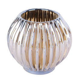 Theelichthouder Sparkle lines glass amber
