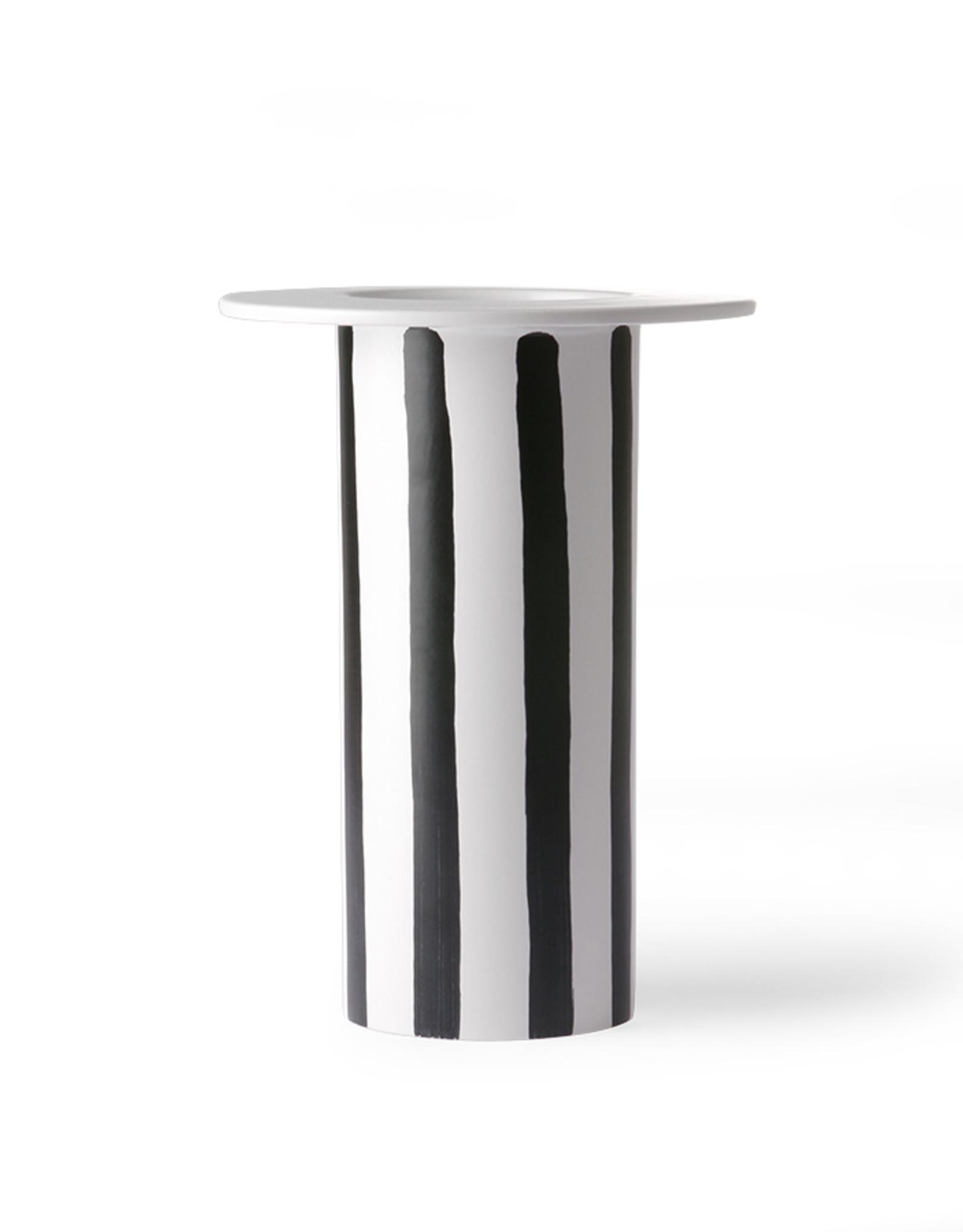 Vaas black/white striped keramiek