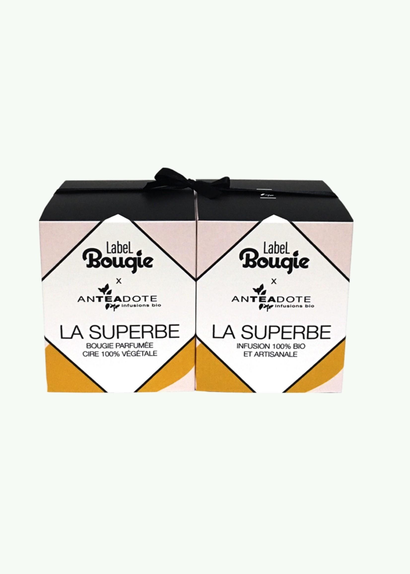 Label Bougie Label Bougie - La Superbe - Bougie Parfumée 180 gr et Infusion au Thé Vert 80 gr