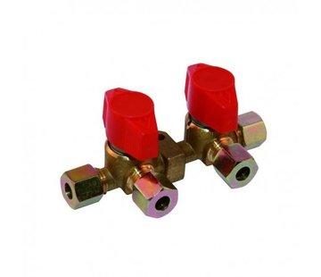 Boatvision Gas-distributieblok met 2 snelsluitkranen