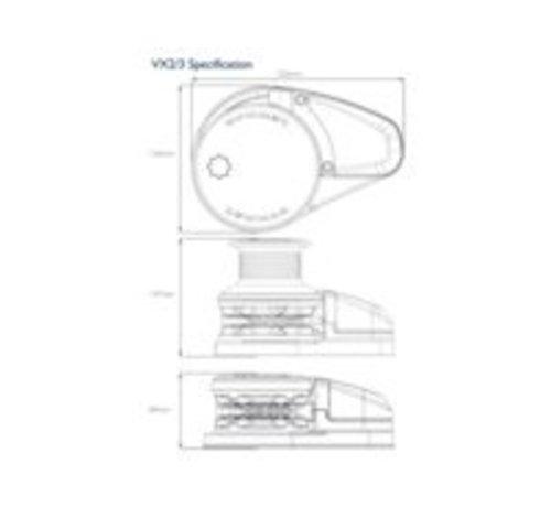 Lewmar VX1 GD DECK UNIT 8MM 12V - 500W