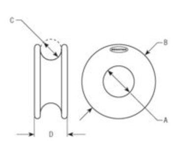 Ronstan Low friction ring 38x16x17mm zwart