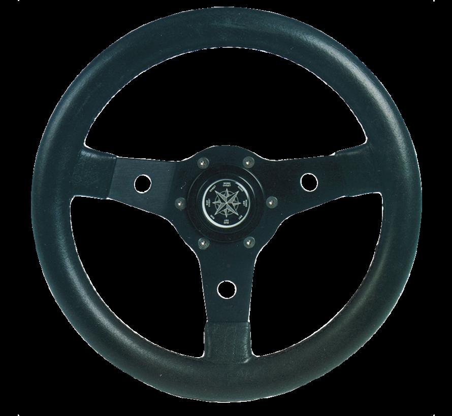 3-Spaaks stuurwiel Delfino zwart aluminium met zwarte vinyl rand  A=340mm  B=95mm