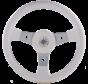 3-Spaaks stuurwiel Delfino zilver aluminium met witte vinyl rand  A=340mm  B=95mm