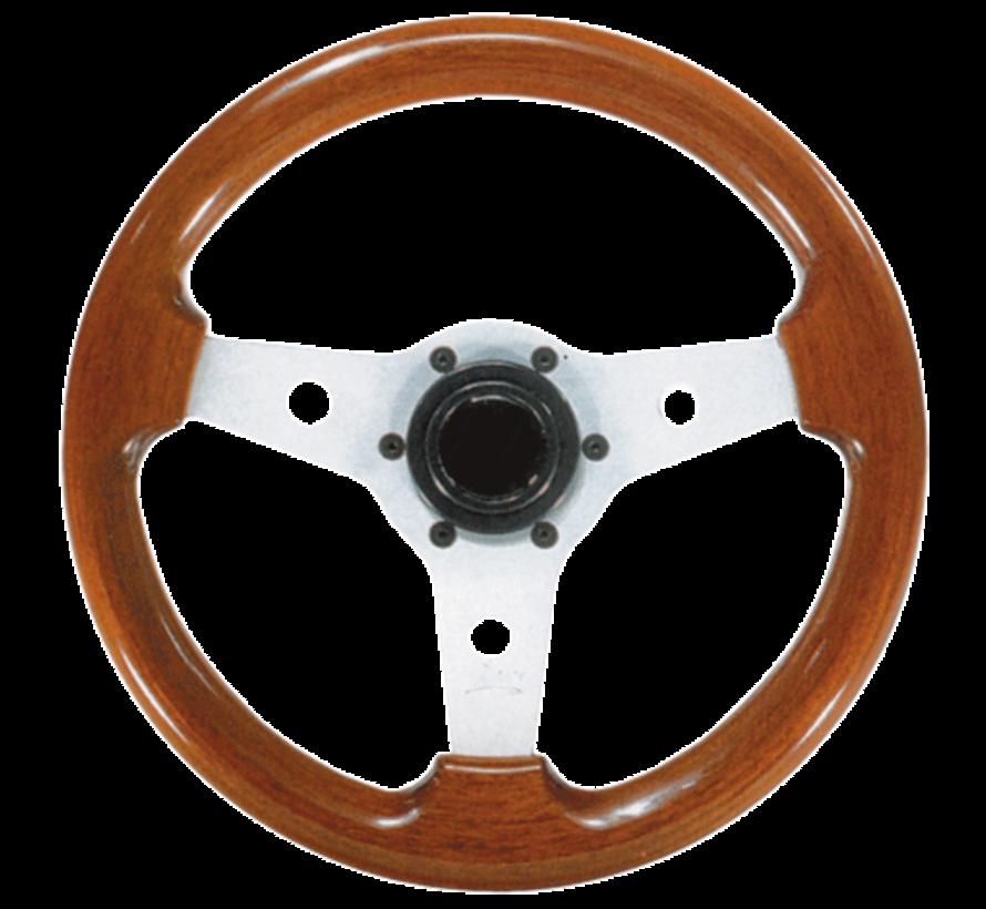 3-Spaaks stuurwiel Imola zilver aluminium met mahoniehouten rand  A=310mm  B=80mm