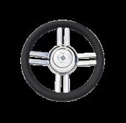 Allpa 4-Spaaks stuurwiel Model 25B RVS met zwarte polyurethaan rand  A=350mm  B=60mm