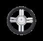 4-Spaaks stuurwiel Model 25B RVS met zwarte polyurethaan rand  A=350mm  B=60mm