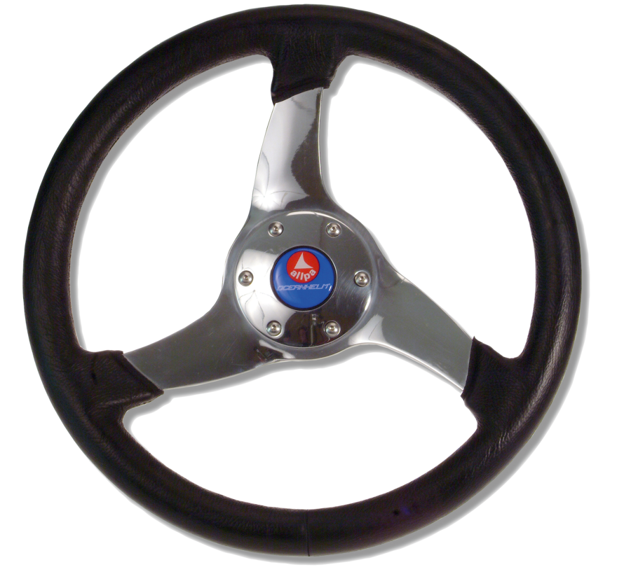 3-Spaaks stuurwiel Elica RVS met zwarte polyurethaan rand  A=350mm  B=95mm