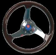 Allpa 3-Spaaks stuurwiel Elica RVS met mahoniehouten rand  A=350mm  B=95mm